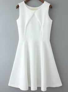 White Sleeveless Pleated Flare Tank Dress