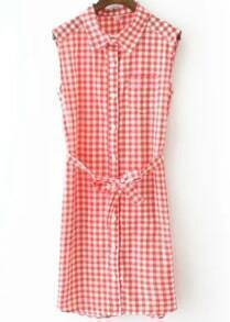 Red Lapel Sleeveless Plaid Tie-waist Blouses Dress