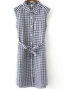 Blue Lapel Sleeveless Plaid Tie-waist Dress