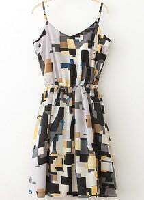 Multicolor Spaghetti Strap Geometric Print Dress