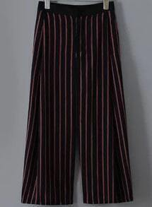 Black Vertical Stripe Wide Leg Pant