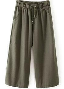 Green Drawstring Waist Wide Leg Pant