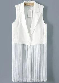 White Notch Lapel Pleated Chiffon Outerwear