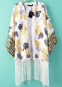 White Floral Tassel Loose Kimono