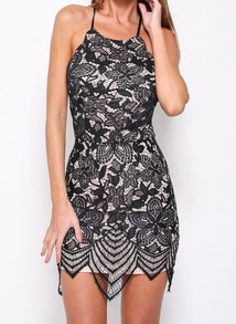 Black Criss Cross Back Lace Bodycon Dress