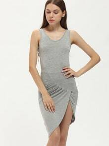 Grey Criss Cross Back Asymmetrical Slim Dress