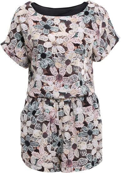 Brown Short Sleeve Floral Top With Straight Shorts