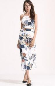 White Criss Cross Back Leaves Print Top With Skirt