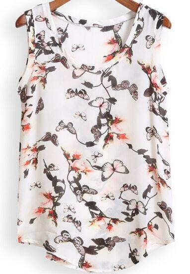 White Scoop Neck Butterfly Print Chiffon Tank Top