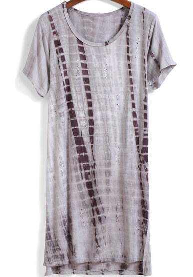 Grey Short Sleeve Hollow Loose Dress