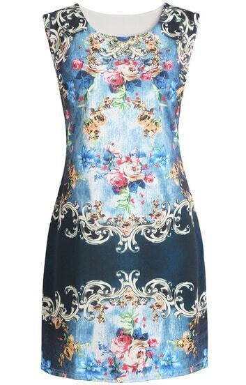 Blue Sleeveless Floral Slim Tank Dress