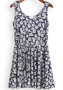 Blue Drawstring Daisy Print Pleated Tank Dress