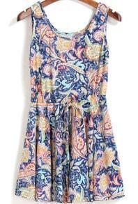 Blue Drawstring Tribal Print Pleated Tank Dress