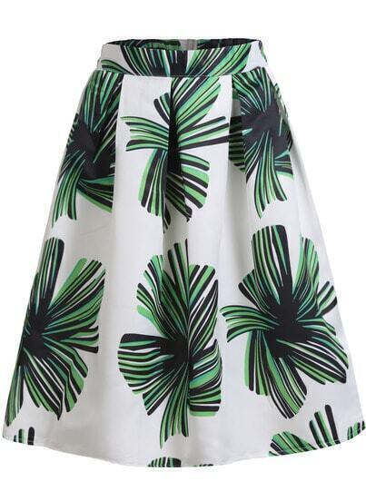 White Floral Flare Midi Skirt