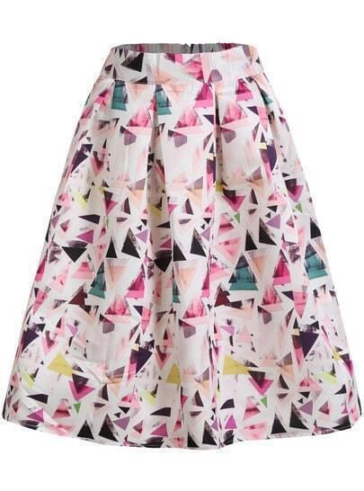 Multicolor Geometric Print Flare Midi Skirt