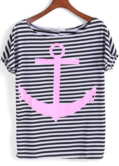 Black White Short Sleeve Striped Anchors Print T-Shirt