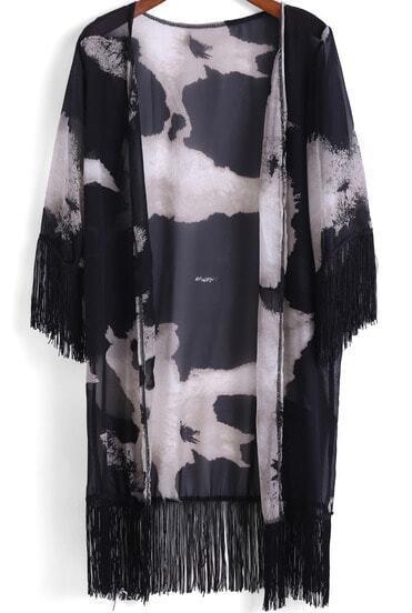 Black Floral Tassel Loose Chiffon Kimono
