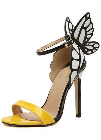 Yellow Slingbacks With Butterfly High Heeled Sandals