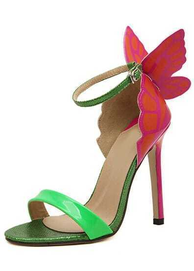 Green Slingbacks With Butterfly High Heeled Sandals