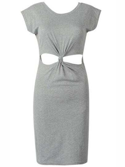 Grey Knotted Cut Out Bodycon Dress