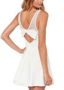 White With Mesh Back Bow Flare Dress