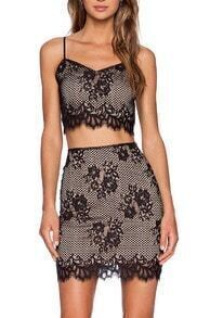 Black Spaghetti Strap Lace Crop Top With Embroidered Skirt