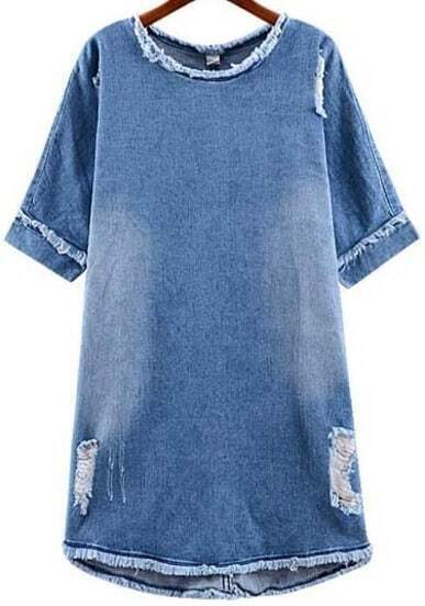Blue Ripped Bleached Denim Shift Dress