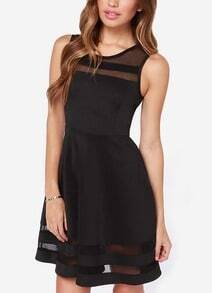 Black With Sheer Mesh Flare Flapper Dress