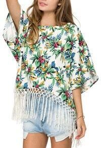 Green With Tassel Florals Loose Top