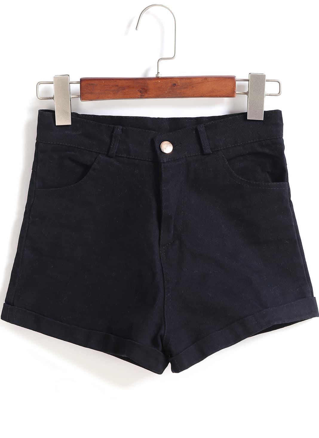 Black Pockets Denim Shorts