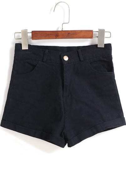 Black Pockets Denim Shorts