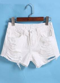 White Ripped Denim Shorts