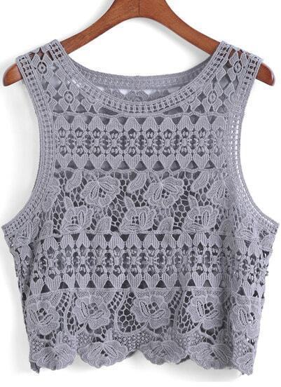 Grey Round Neck Hollow Tank Top
