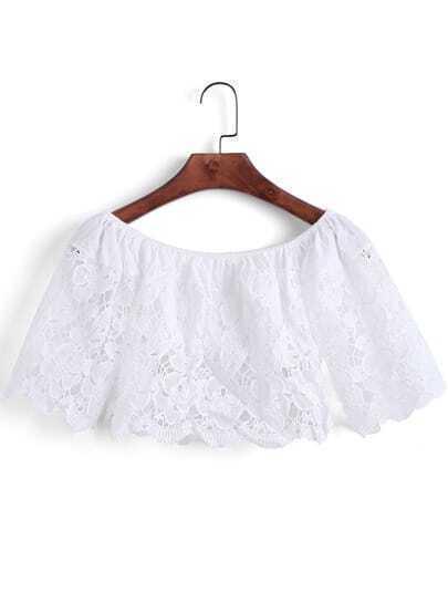 White Off the Shoulder Lace Crop Blouse