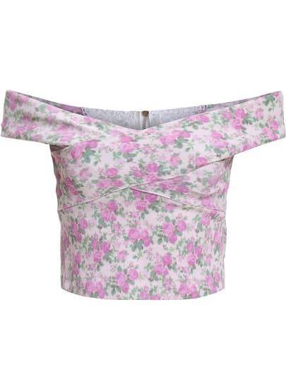 Pink Off the Shoulder Floral Crop Top
