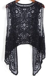 Black Sheer Lace Hollow Blouse