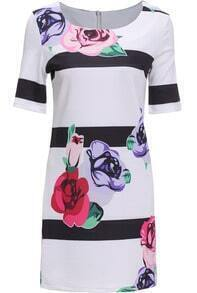 White Short Sleeve Striped Floral Dress