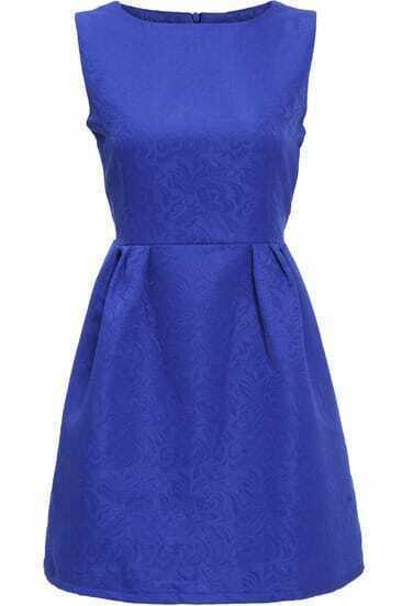 Blue Round Neck Sleeveless Jacquard Dress