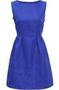Blue Round Neck Sleeveless Jacquard Dress