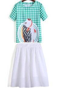 Green Plaid Fish Print Top With White Skirt