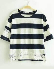 Navy White Short Sleeve Striped Lace T-Shirt