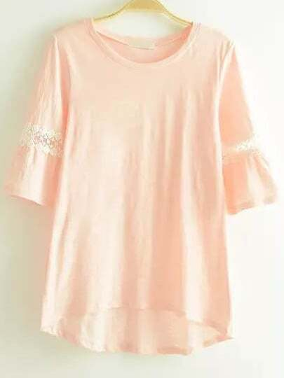 Camiseta cuello redondo encaje -rosa