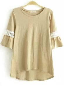 Khaki Round Neck Lace Dip Hem T-Shirt