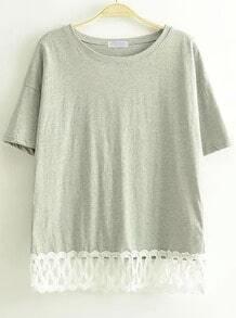 Grey Short Sleeve Lace Hem T-Shirt