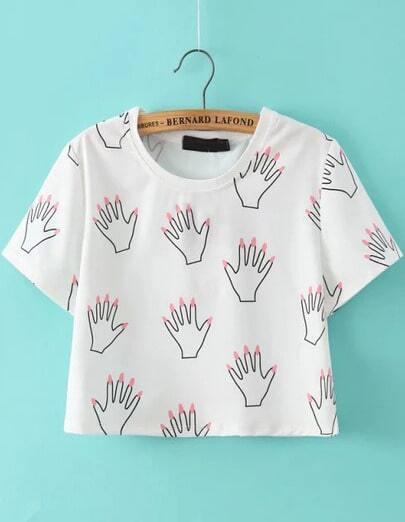 White Short Sleeve Hand Print Crop T-Shirt