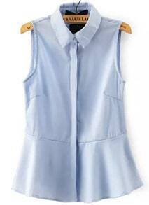 Blue Lapel Sleeveless Ruffle Blouse