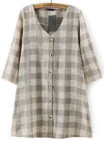 Grey V Neck Buttons Plaid Loose Dress