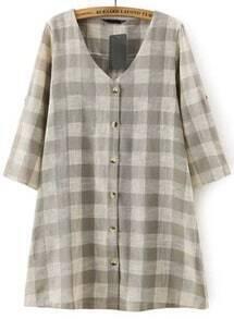 Grey V Neck Buttons Plaid Loose Dress