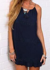 Navy Spaghetti Strap Lace Loose Dress