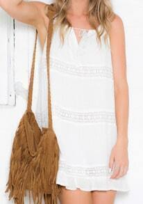 Beige Spaghetti Strap Lace Loose Dress